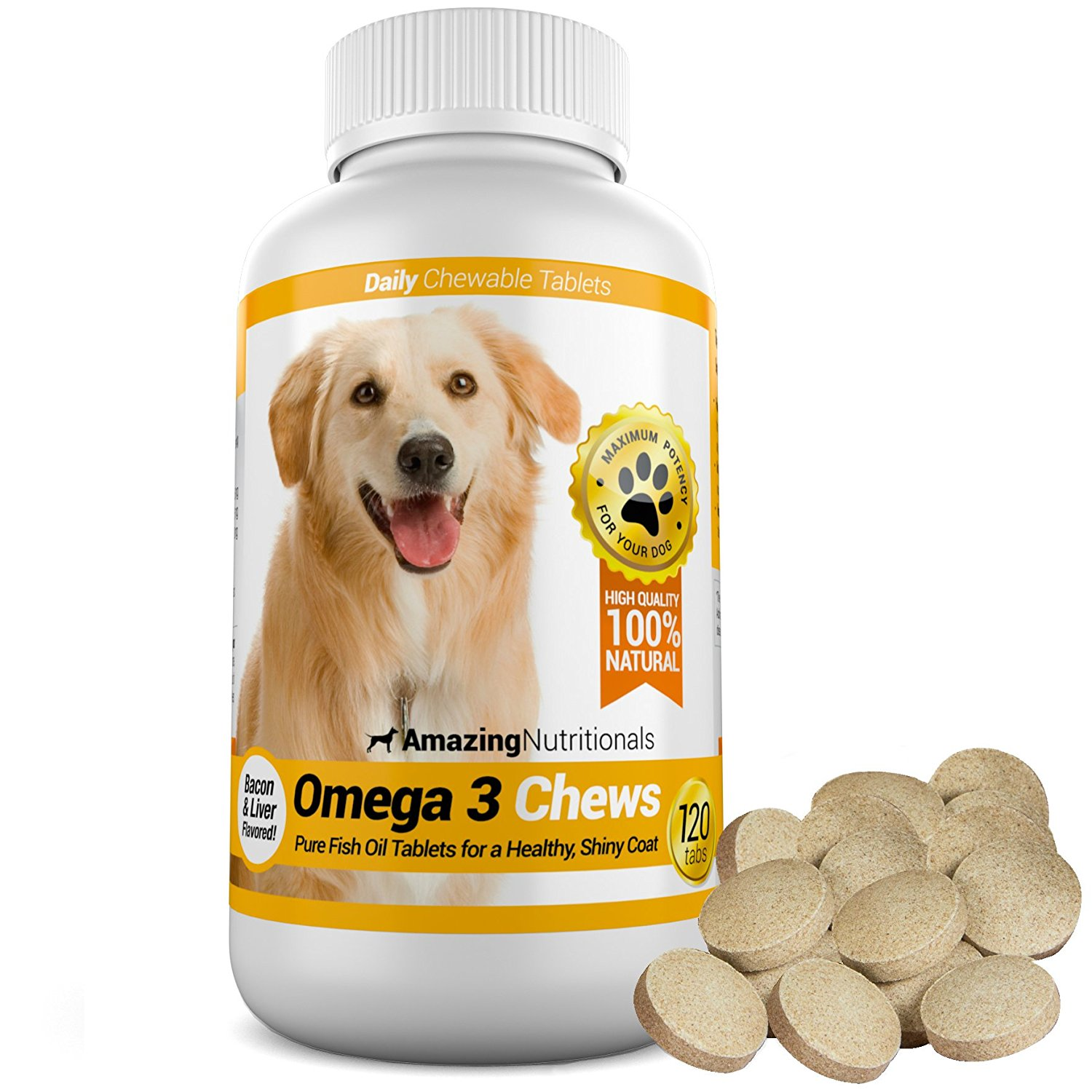 Amazing nutritionals omega 3 fish oil chew able tablet for for Can i give my dog fish oil for humans
